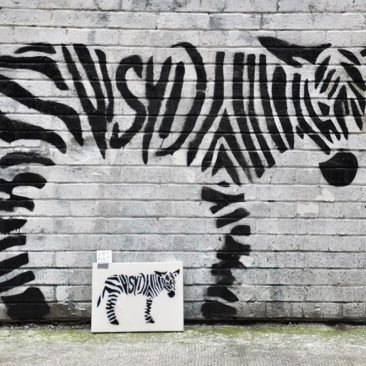 Zebra Tag Free Art on a recycle canvas